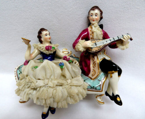 Antique MV Germany Dresden Porcelain Figurine ~ Couple on Couch w/ Instrument