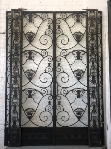 Metal French Doors 1920's Art Nouveau Art Deco Iron W Glass Entry W 2 Side Light