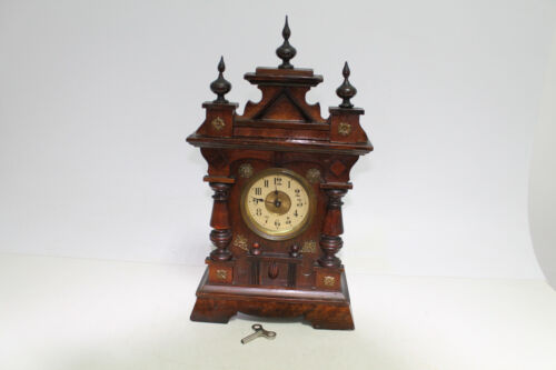 Antique Old Big Massive Charming Wooden Wall Clock with Key