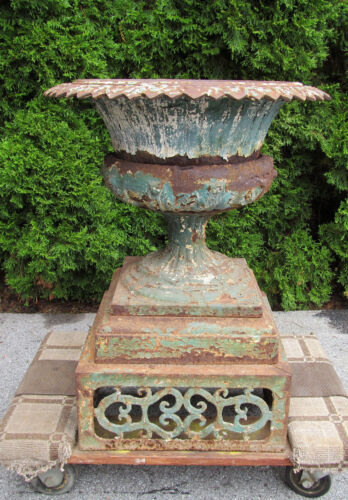 Antique Ornate Cast Iron Garden Urn Fancy Base Victorian Planter Great Old Paint