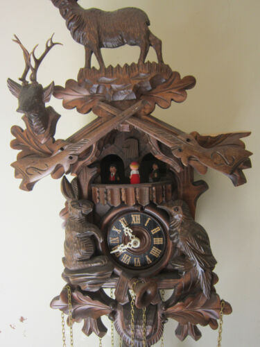 Rare Large Antique Black Forrest  figural wooden Musical carousel Swiss clock