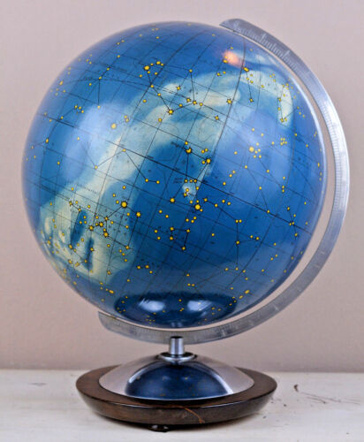 "rare German Art Deco Celestial Columbus Globe 12""Ø mouthblown glass"