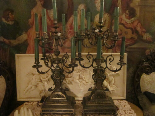 Pair Large fine French Renaissance style  Figural  candelabras/Chandeliers