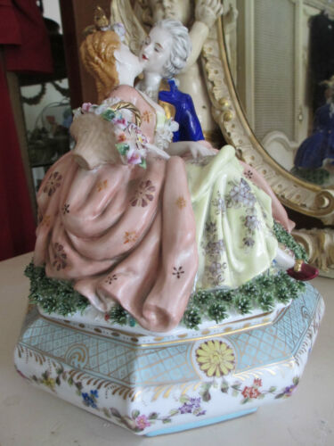 Antique Dresden Figural porcelain Statue Group centerpiece compote box/casket