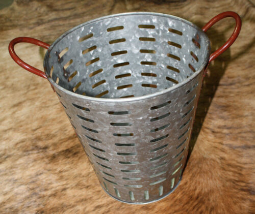 Galvanized Rustic Antique Style Metal OLIVE BUCKET Home Decor Harvest Basket 13""