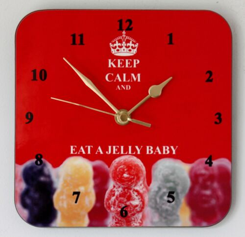 Square Wall Clock Keep Calm and Eat a Jelly Baby Size 19cm by 19cm