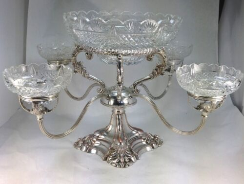 Victorian Silver Plate Large Tazza Centerpiece Epergne W/Five Crystal Bowls