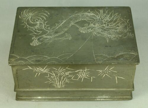 *Antique 1800's Chinese Pewter KUT HING SWATOW Lidded Tea Caddy Box w. Dragon
