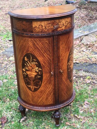 1920s French Inlaid Satinwood Demilune Commode end table small size WILL SHIP!!