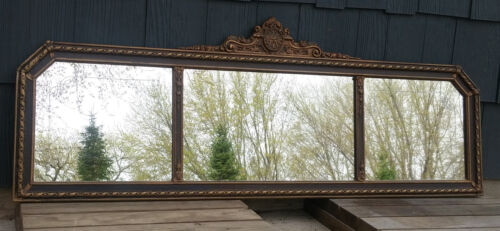 "56"" Antique Venetian Floral Etched 3 Panel Buffet Fireplace Mantle Wall Mirror"