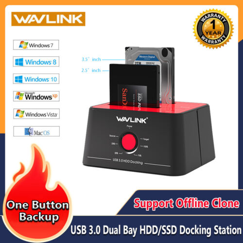 USB 3.0 Dual Bay External Hard Drive Docking Station with Offline Clone [8TB×2 ]