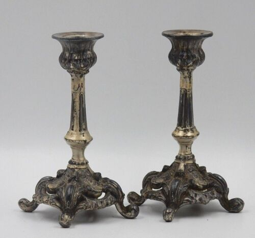 """ANTIQUE EARLY 1900's SOLID PEWTER 5-3/4"""" ORNATE CANDLESTICKS ~ MADE IN USA"""