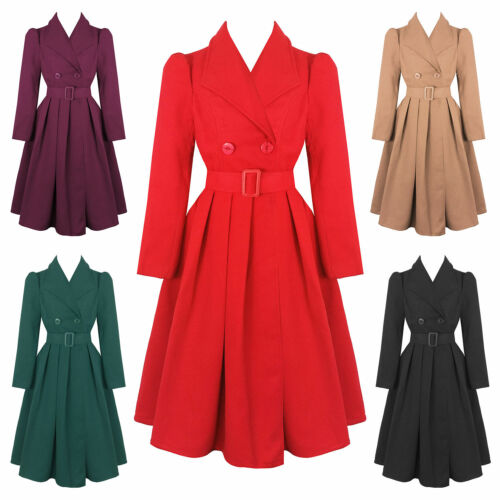 Hearts and Roses London Vintage 1950s Retro Statement Military Swing Coat UK