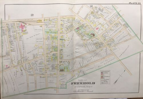 1905 FREEHOLD NEW JERSEY MONUMENT PARK COURTHOUSE & JAIL FULTON-McLEAN ATLAS MAP