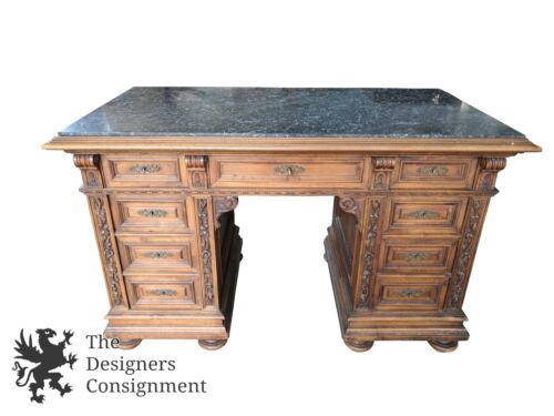 Antique 1870s Chippendale Style Kneehole Writing Desk Carved Walnut Granite Top