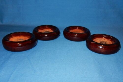 "Set of 4 Vintage 3 1/4"" Dark Brown Ceramic Furniture Casters Floor Protection"
