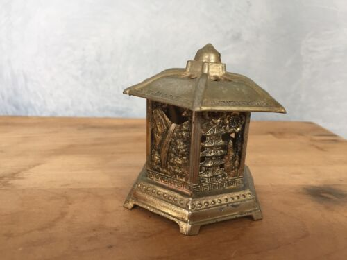 "3"" Brass Knights Templar Metal Buddhist Pagoda tower Censer incense burner JAPAN"