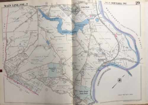 1950 CHESTER COUNTY PA, SCHUYKILL VALLEY FORGE PARK PHOENIXVILLE CC ATLAS MAP