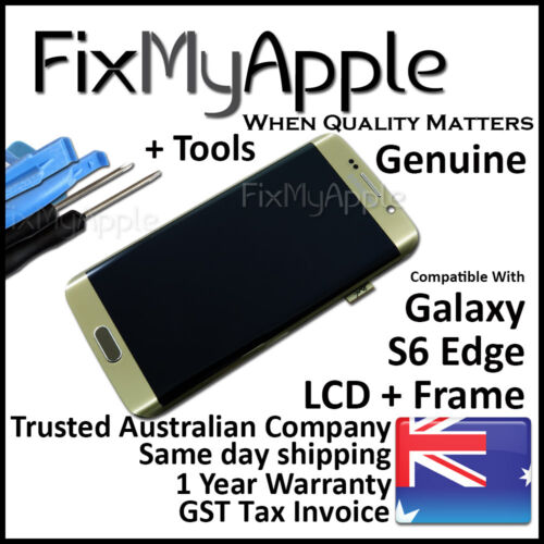 Samsung Galaxy S6 Edge G925 Gold OEM LCD Touch Screen Digitizer Frame Assembly