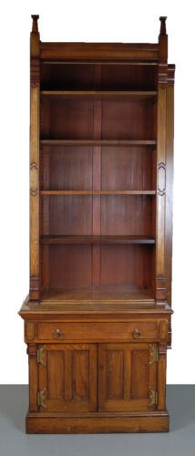 Victorian Renaissance Revival Bookcase Cabinet with Gothic Finials As-is