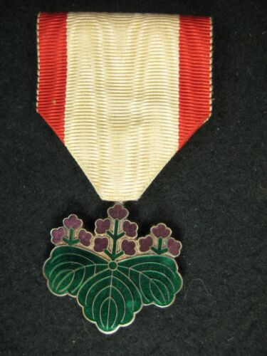 VINTAGE JAPANESE WW2  MILITARY MEDAL CLOISONNE & SILVER ORDER OF THE RISING SUN