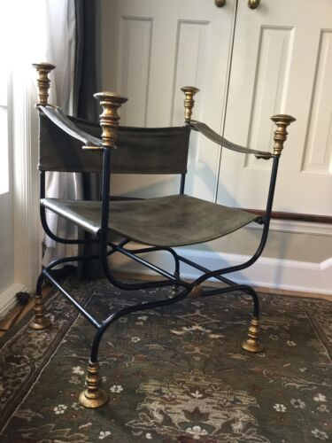 Vintage 60s Woodard Wrought Iron Brass Campaign X Base Chair Hollywood Regency