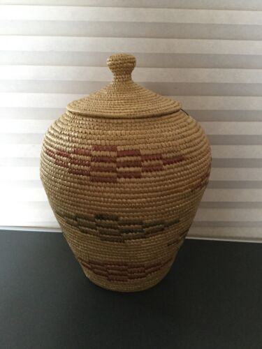 Antique Alaskan Inuit Yupik Native Lidded Basket with Geometric Pattern