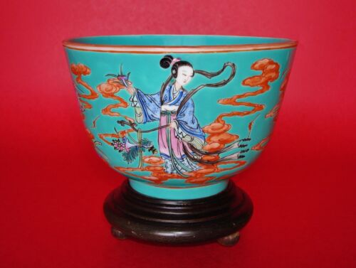 Turquoise-Ground, Famille Rose & Iron Red Jiaqing Period Chinese Porcelain Bowl