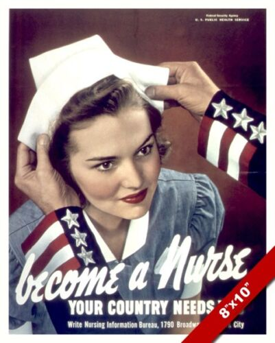 UNITED STATES BECOME A NURSE WWII PROPAGANDA POSTER REAL CANVAS WAR ART PRINT