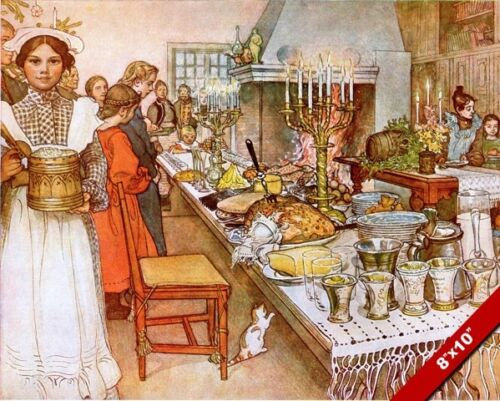 THE CHRISTMAS EVE FEAST DINNER TABLE VICTORIAN PAINTING ART REAL CANVAS PRINT