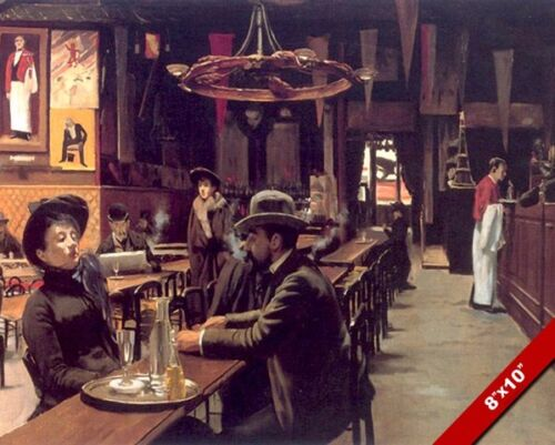 COUPLE MAN & WOMAN SITTING IN SPANISH CAFE BAR PAINTING ART REAL CANVAS PRINT