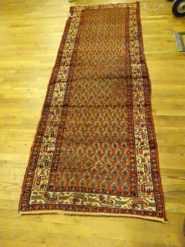 "3x10 HAND KNOTTED PERSIAN HAMEDAN ORIENTAL ANTIQUE WOOL RUNNER RUG 3'3""X9'"