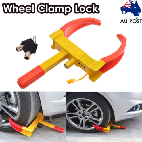 HEAVY DUTY WHEEL CLAMP LOCK FOR CARAVAN CAR SECURITY + 2 KEYS-NEW ANTI-THEFT AU