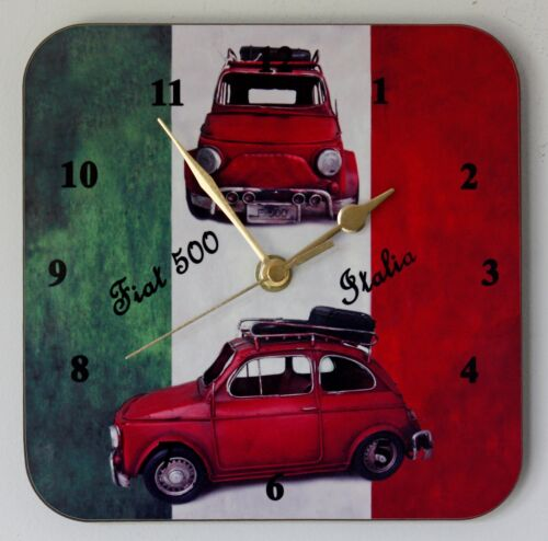 Square Wall Clock Fiat 500 Classic Car on Italian Flag Size 19cm by 19cm
