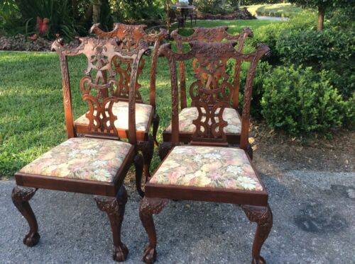 Vtg Set Of 4 Chippendale Ornate Carved Solid Mahogany Dining Chairs Ball & Claw