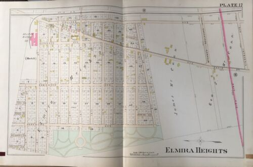 ORIG 1896 A.H. MUELLER, ELMIRA HEIGHTS, NEW YORK OAK RIDGE HOTEL, PLAT ATLAS MAP