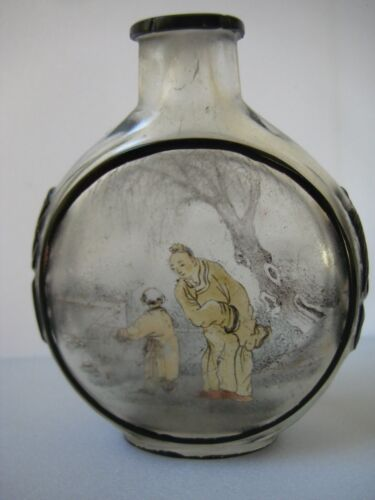 Rare Antique Chinese Inside Reverse Painted Carved Glass Snuff Bottle Circa 1900