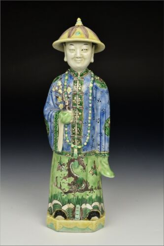 19th / 20th Century Chinese Famille Verte Porcelain Statue / Figurines of Man