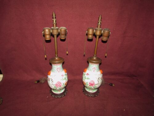 Pair Old or Antique Chinese Porcelain Vases Mounted as Lamps