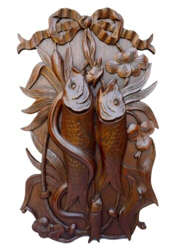 French Black Forest Carved Wood Still Life Wall Panel Hunt Trophy Plaque Fish