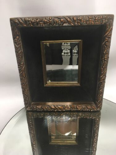 """Vintage Mid Century Carved WOOD & Gold Picture Frame Mirror 8 1/2""""x9 1/2"""""""
