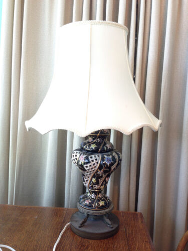 Antique Capodimonte Italian Table Lamp w/ Dolphins, Hand-Painted Flowers Lattice