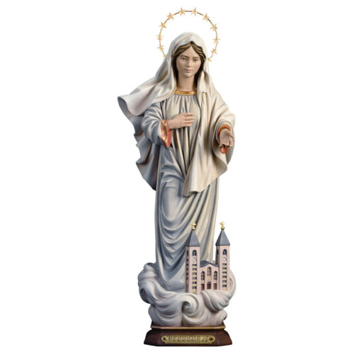 Madonna Medjugorje Con Chiesa e stelle - Our Lady Medjugorje with Church & Halo