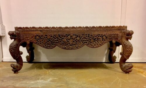 Ornately Carved Vintage Moroccan Indian Marble Top Low Coffee Table