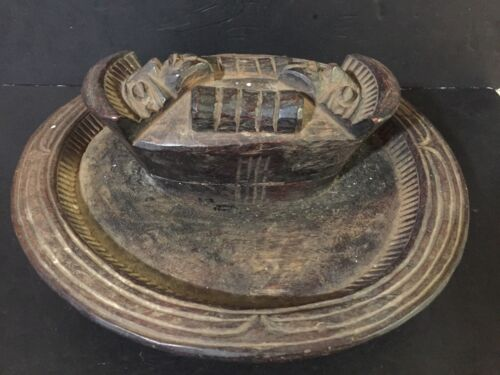 "AFRICAN WOODEN Offering Divination BOWL WITH TRAY Yoruba center piece 15"" VTG."