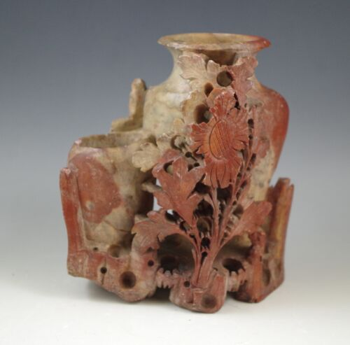 """ANTIQUE SOAPSTONE 4.5"""" DOUBLE VASE RED, GREEN   FLOWERS"""