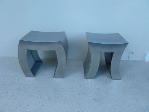 "2 FABULOUS CONTEMPO ITALIAN DE CASTELLI STAINLESS STEEL "" IN AND OUT "" BENCHES"