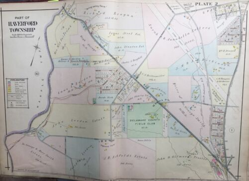 ORIG 1909 A.H. MUELLER, DELAWARE COUNTY, PA, HAVERFORD TOWNSHIP, PLAT ATLAS MAP