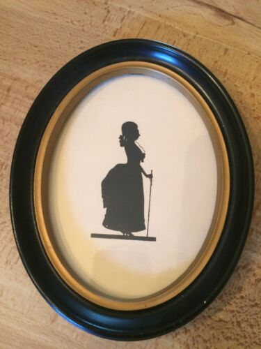 Victorian Lady Silhouette Oval Black Gold Frame 7""