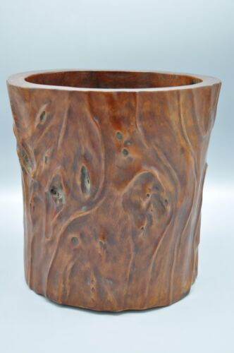 Large Antique Chinese Huali Wood Carving Brush Pot